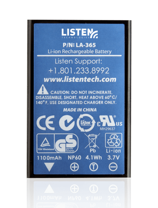 Close-up view of the LA-365 replacement Li-Ion battery with Listen Technologies contact information.