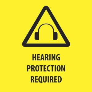 """Infographic with """"Hearing Protection Required"""" signage"""