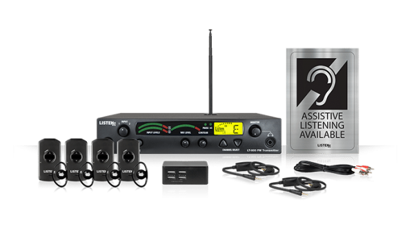 Composite of Listen iDSP Prime Level I Stationary 72 MHz radio frequency assistive listening system (72 MHz) with server, four receivers, four over the ear headphones, four-port USB charging with additional cords, and an Assistive Listening Available sign