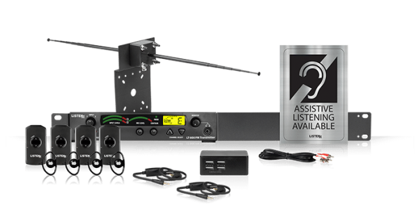 Composite of Listen iDSP Prime Level II Stationary RF System (72 MHz) with advanced antenna, transmitter, Assistive Listening Available sign, four iDSP receivers, four ear speakers, a four-port USB charging cord, and two lanyard neck loops