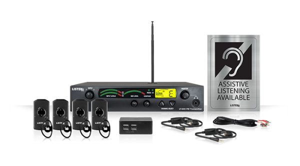 Composite of Listen iDSP Advanced Level I Stationary RF System (72 MHz) with four receivers and headsets, a four-port charger, two neck loop lanyards, the transmitter, and an Assistive Listening Available sign.