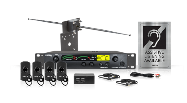 Composite photo of the Listen iDSP Advanced level 2 stationary 72 MHz radio frequency assistive listening system, showing antenna, transmitter, four receivers, four-port USB charger, cords, and assistive listening available sign