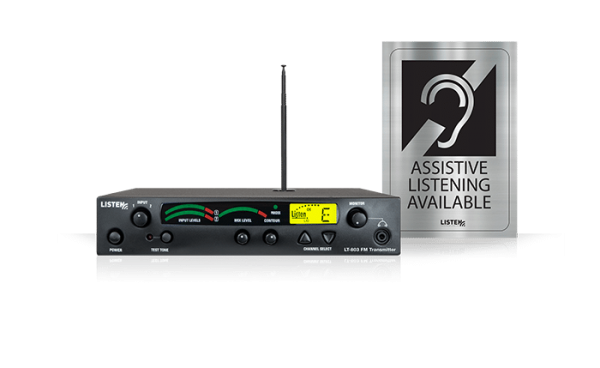 Stationary 3-channel RF Transmitter with Assistive Listening Available signage