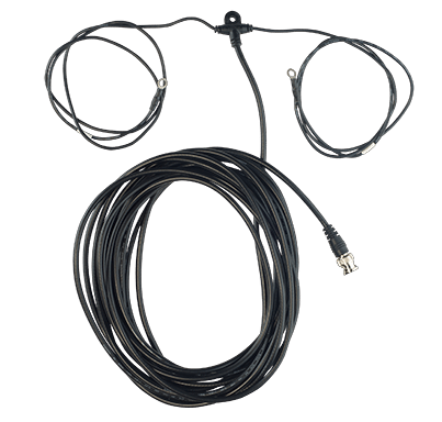 Product photo of coaxial cable rolled up with a remote antenna attached