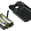 Battery compartment with three triple A batteries and the cover to the side