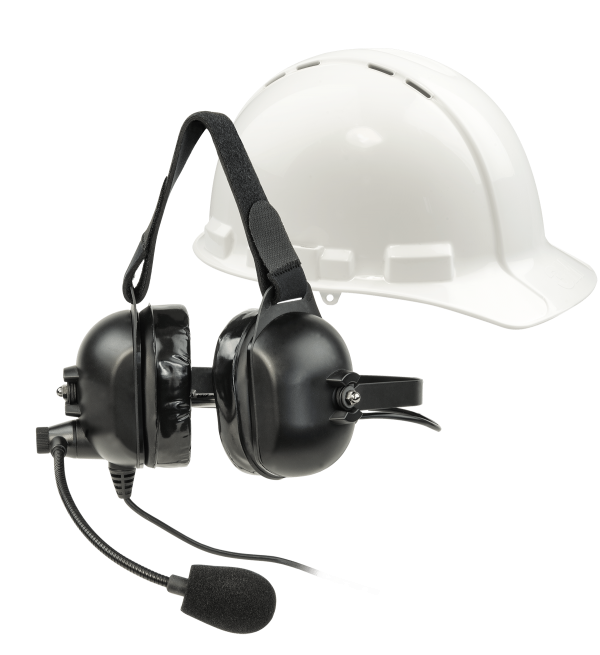 la-455 over the hat headset with a white hard hat in the background