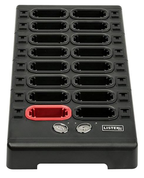 Angled top view of 16 unit docking station