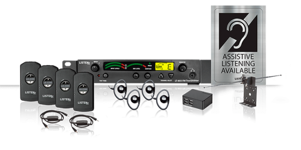 Listen iDSP Essentials Level 2 Stationary RF System (72 MHz) composite photo of system including four receivers, four over the ear headsets, a four-port USB charger, a radio frequency transmitter, an antenna, and an Assistive Listening Available sign