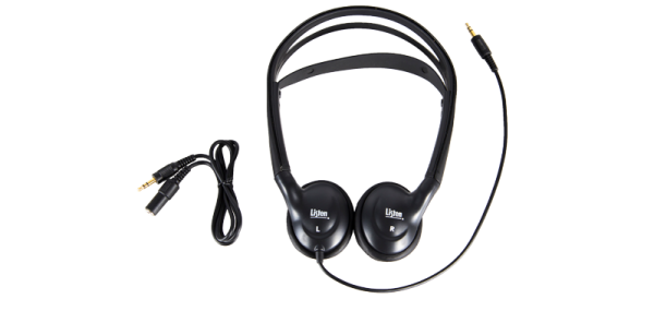 Dual headphones with 3.5 mm extension cable