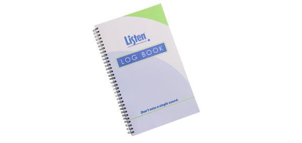 Spiral-bound notebook with Listen and the words LOG BOOK on the cover