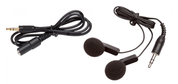 Aux cord shown with earbuds