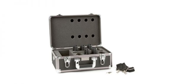 Open hard shell travel case with portable radio frequency receivers.