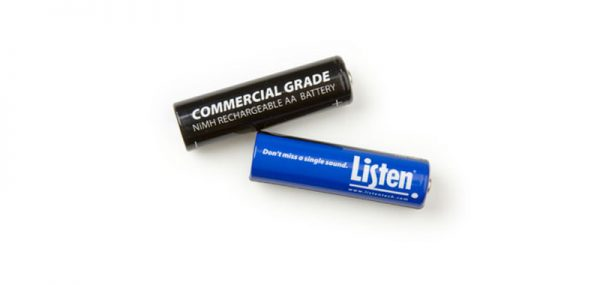Two batteries - one black that reads Commercial Grade NiMH Rechargeable AA Battery in white lettering, and blue one that says Listen