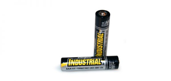 Product photo of two industrial AAA batteries