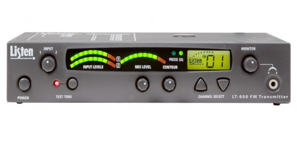 LT800 150 MHz stationary RF Transmitter - black rectangular box with meters, an LCD display showing channel selection, and a Listen Technologies logo
