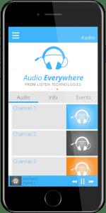 Listen EVERYWHERE app displayed on a phone