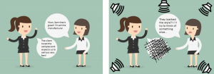 Infographic of two women talking together and of them trying to communicate with ambient noise coming from speakers