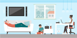 Animated family with wi-fi devices throughout their home