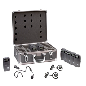 Listen Technologies RF system with carrying case, ear speakers, receivers, and charging tray