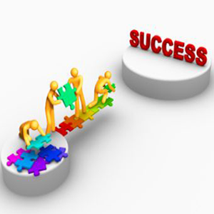 Illustration of people using puzzle pieces to build a bridge to a platform that says success