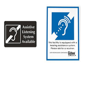 Examples of two different assistive listening systems available signs