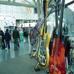 Electric Guitar statues on display at event