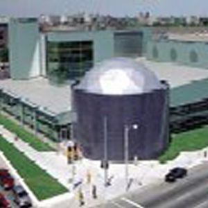 Outdoor shot of the Detroit Dcience Center