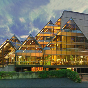 The outside of the hult center for performing arts.