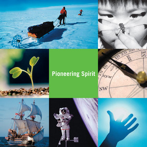 """Collage of different images in nature with """"pioneering spirit"""" in the center"""