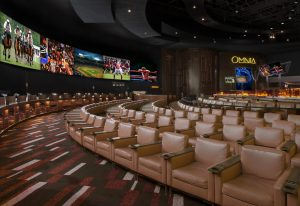 Room view of the Caesar's Palace Race and Sportsbook Room.