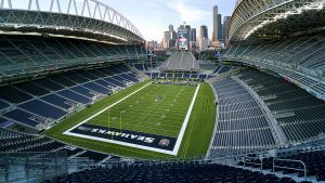 Aerial view of the Seattle Seahawks stadium.
