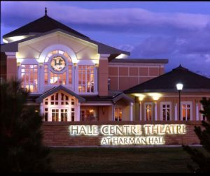 Frontal view of the Hale Center Theater building at Harman Hall