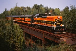 Train traveling across a bridge through tall pine tree forests.