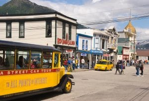 Skagway Streetcar frontier town of Skagway, Alaska a historic goldrush town of Skagway, a port of call for cruise ships on the Inside Passage. .